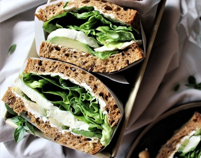 Vegetarian sandwiches with avocado and mozzarella