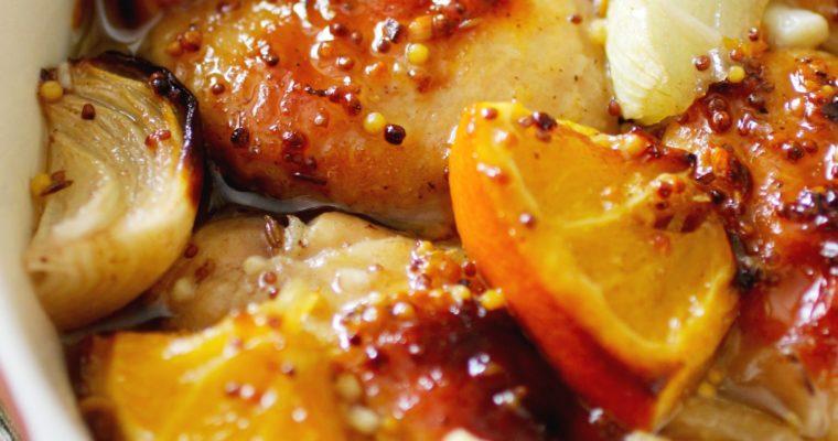 Chicken in honey mustard marinade with oranges