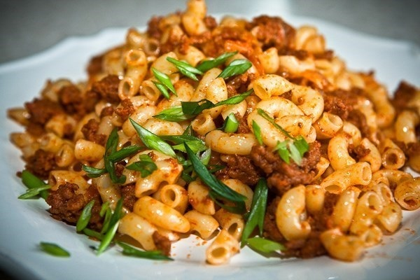 Pasta in a fleet with juicy minced meat