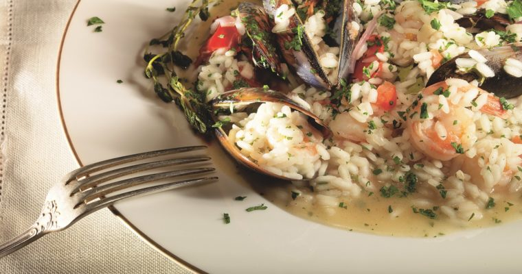 Risotto with mussels and shrimps