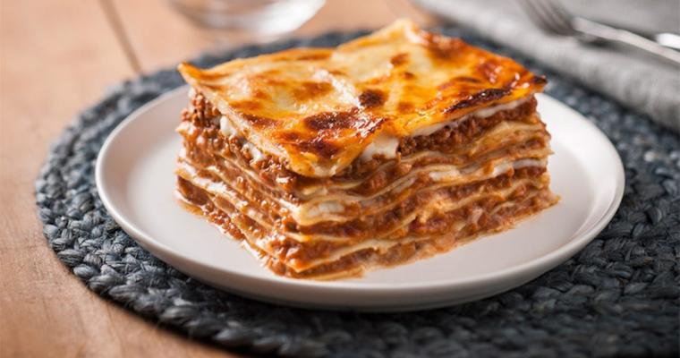 Lasagna with pork and mushrooms