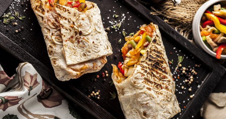 Shawarma with oyster mushrooms and red beans