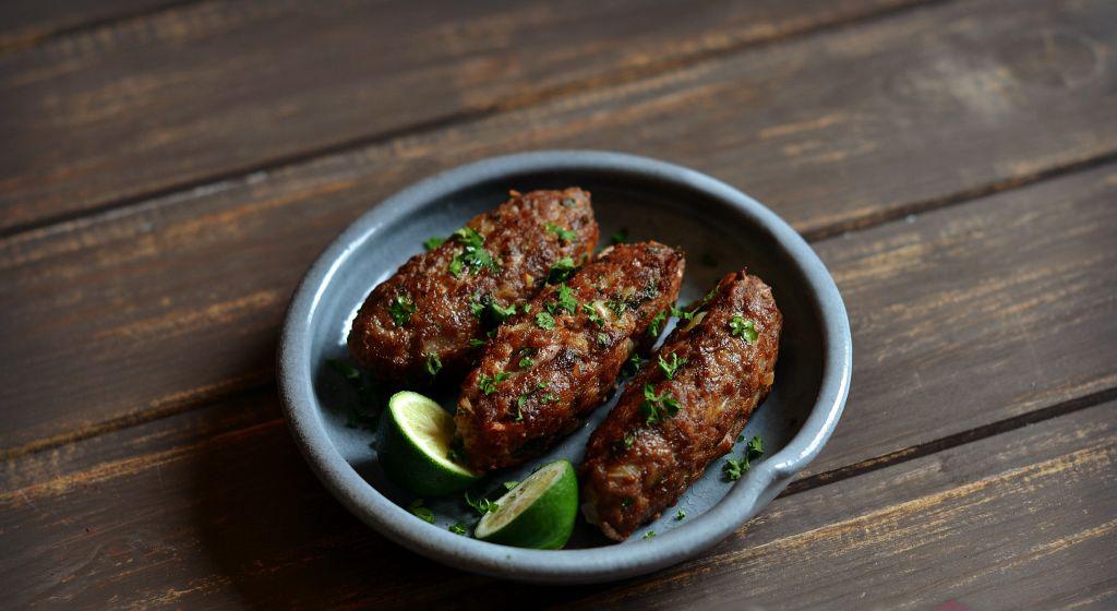 Lula kebab fried in the pan