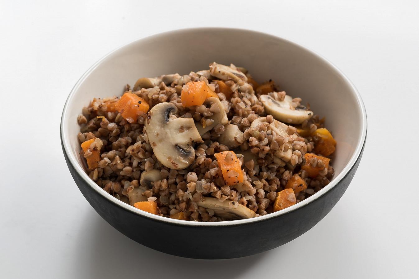 Buckwheat with mushrooms and baked pumpkin