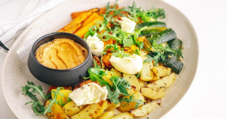 Oven baked vegetables with mozzarella and cayenne pepper mayonnaise