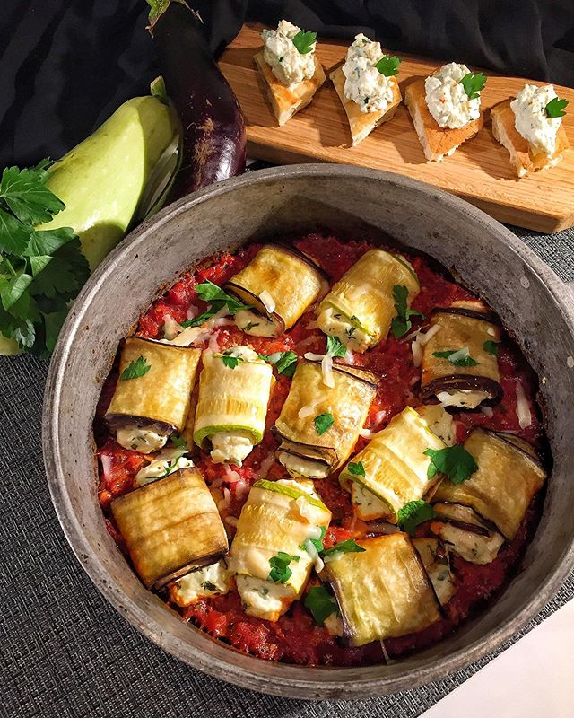 Eggplant And Zucchini Rolls With Ricotta
