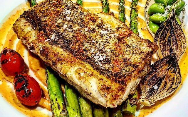 Pan Sear Seabass With Charred Vegetables Turmeric and Chipotle Aioli