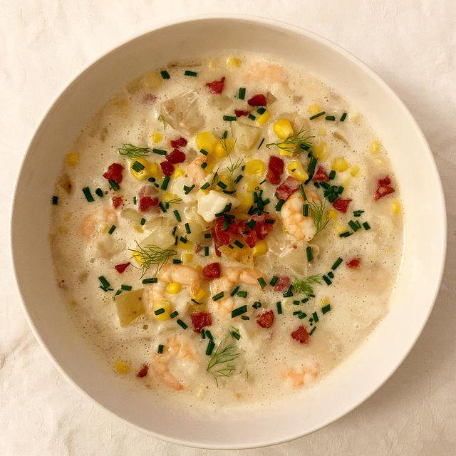Pancetta, prawn and cod chowder