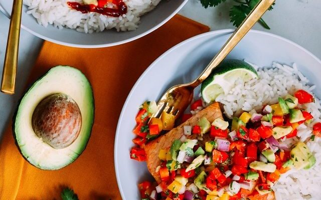 Caribbean Pineapple Salmon with Coconut Lime Rice
