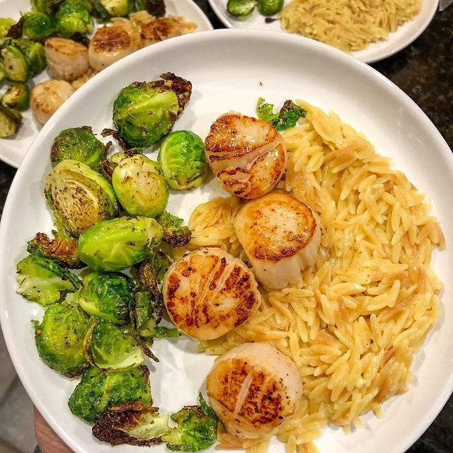 Seared Scallops With Parmesan Orzo And Roasted Brussel Sprouts