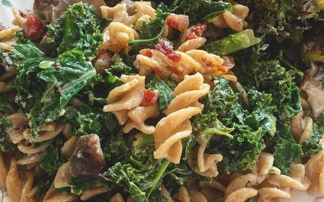 Winter Pasta Salad with Roasted Sprouts and Spinach Falafel