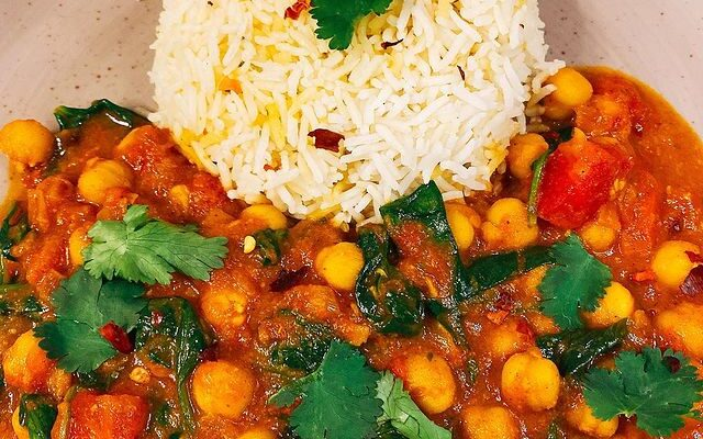Chana palak masala or Chickpea spinach curry