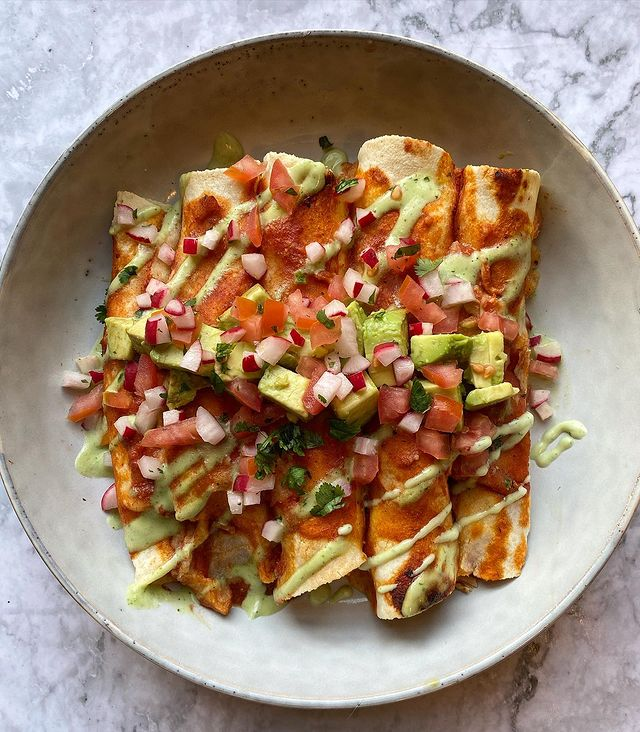 Chicken Fajita Enchiladas with all the fixings