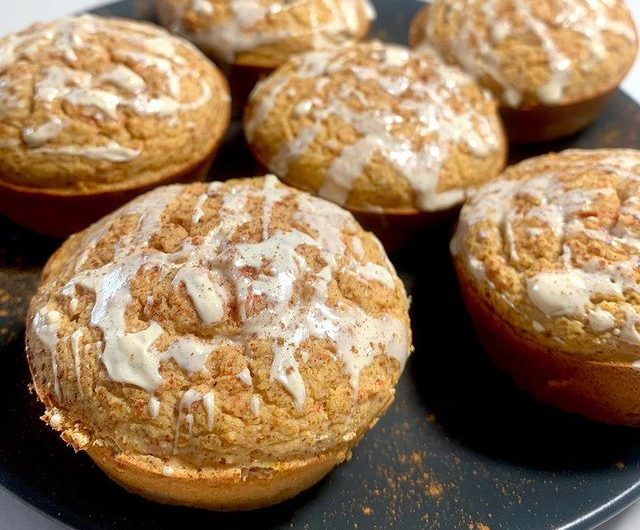 Protein Carrot Cake Muffins with Vanilla Frosting