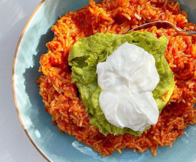 Fajita Rice Topped With Guac And Sour Cream