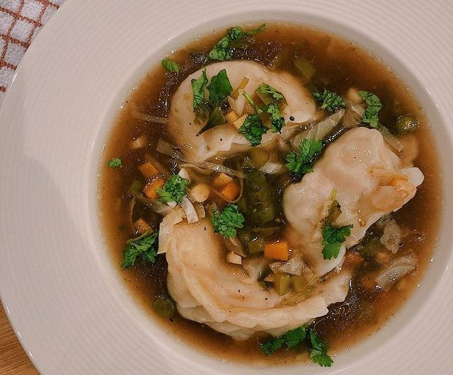 Veg Manchow Soup with Veg Momos