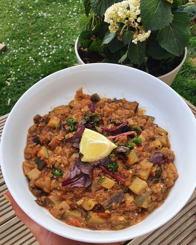Vegan Persian Lentil, Courgette And Aubergine Stew