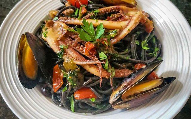 Squid Ink Pasta With Calamari And Mussels