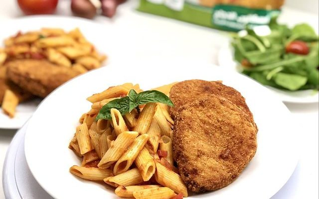 Chicken Escalope with Penne Red Sauce