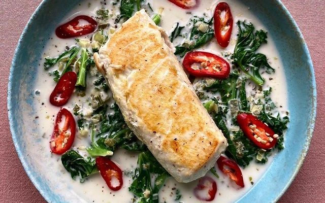 Wild Halibut with Kale and Thai sauce